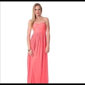 PARKER Coral Strapless Silk Formal Maxi Dress